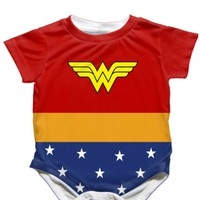 Handmade Wonderwoman Onesuit - Available 0-24 Months - Whimsical & Unique Gift Ideas for the Coolest Gift Givers