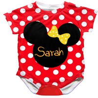 Personlized Handmade Minnie Mouse Onesuit - Available 0-24 Months - Whimsical & Unique Gift Ideas for the Coolest Gift Givers