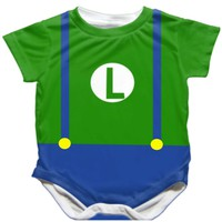 Handmade Mario Brothers Onesuit - Available 0-24 Months - Whimsical & Unique Gift Ideas for the Coolest Gift Givers