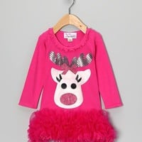 Christmas Fuchsia Reindeer Ruffle Dress - Available in Infant, Toddler & Girls - Whimsical & Unique Gift Ideas for the Coolest Gift Givers