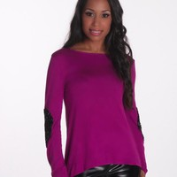 Magenta Long Sleeve Top with Black Sequin Elbow Patches