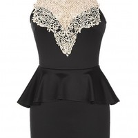 The Lace Neck Black Dress