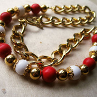 Red White and Gold Vintage Chain Necklace by PiggleAndPop