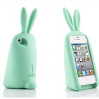 3D Cute Setting Ribbit Soft Silicone Gel Back Case Cover for iPhone 4/4S in 9 Colors Mint Green