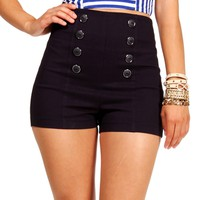 Navy High Waist Button Shorts