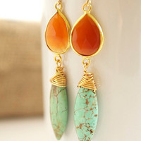 Carnelian and Turquoise Earrings Bezel Set Earrings by Jewels2Luv