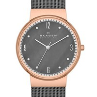 Skagen Crystal Bezel Mesh Strap Watch, 34mm | Nordstrom