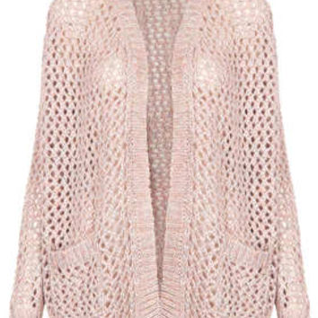 Knitted Shimmer Mesh Cardi - Knitwear  - Clothing
