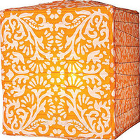 Mango Orange Block Printed Square Paper Lanterns