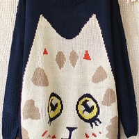 Cute Cat Graphic Sweater - OASAP.com
