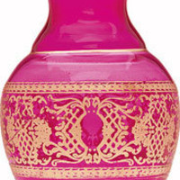 Gilded Pink Glass Vase (scrolling accents)