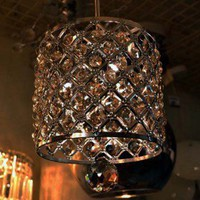 Contemporary Crystal Drop Pendant Light in Cylinder Style - US$ 69.99