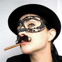 gothic mens masquerade mask, halloween, movember, costume, accessories, handmade