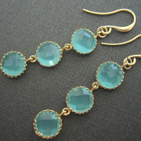 Aqua Circle Drops, Aqua And Gold Earrings | Luulla