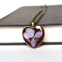 Pressed Flower Jewelry, Resin Flower Jewelry, Heart and Hydrangea Flower Necklace, Purple and Red Heart, Canadian Jewelry Shop