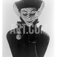 Anne Gunning in an Erik felt and Velvet Mandarin Hat with Veil, 1950 Giclee Print by John French at Art.com