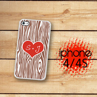 iPhone 4S Case Personalized Tree Heart  /Hard Case For iPhone 4 and iPhone 4S Rubber Trim