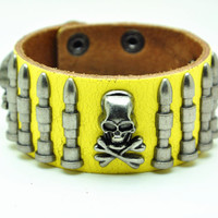 Yellow Real Leather Bracelet with Bullet Rivet Women Jewelry Bangle Fashion Bracelet, Men bracelet   C018