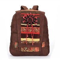 Handmade Bohemian Wood Beads Canvas Backpack - Coffee