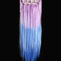 18'' 6pcs Synthetic Ombre Dip Dyed Hippie Hair Human Extension Clip in 27colors WGY59 Bright Purple / Sapphire Blue