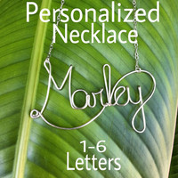 Custom Wire Name Necklace, Personalized Jewelry, 1-6 letters