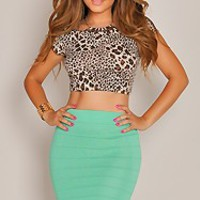 Black Mesh Cut Out Skirt and Top Set