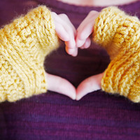 Crochet Unisex Warm Fall Winter Fingerless Gloves Stretchy Fitted Design in Mustard Yellow