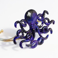 Gothic Halloween Purple/Blue Octopus Bracelet