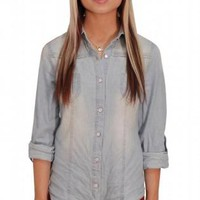 Light Denim Button Up Top