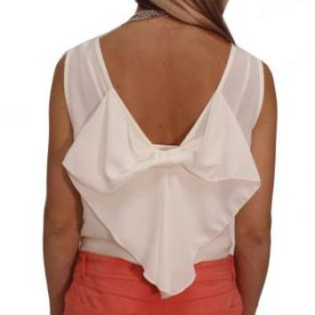 White Bow Back Top