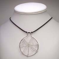 Silver Web Necklace Halloween Necklace Spider Web Large Size in Sterling Silver Wire Wrapped