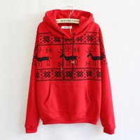 Fawn Hooded Fleece Sweater Red