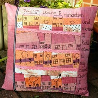 "Hand Embroidered Art Pillow. ""Our House"" 