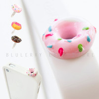 Strawberry Rainbow Candy Topping Donut iPhone Anti Dust Plug Funny Food Ear Cap