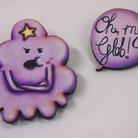 Lumpy Space Princess LSP Adventure Time Speech Bubble 2 Part Laser Cut Wood Brooch