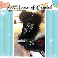 PROMOTION WINTER Black Stylish Fur Sheepskin Fleech/Wool Boots with Swarovski / Czech Rhinestones and Crystals
