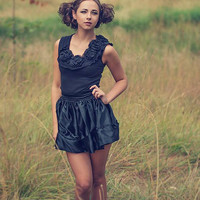 Steampunk victorian goth black rose tank and mini skirt