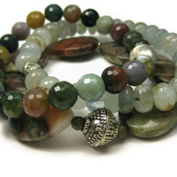 Beaded Stacking Bracelets Aquamarine Jasper by LeafAndTendril