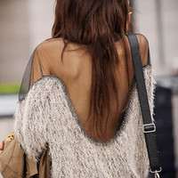 A 091706 Stitching In Transparent Shoulder Halter Sweater