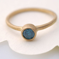 Eco Friendly 4mm Blue Diamod Ring by Tulajewelry on Etsy