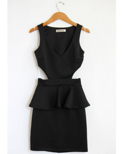 Black Peplum Cut Out Dress
