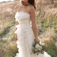 Beautiful Ivory A-line Strapless Neckline Wedding Dress-SinoSpecial.com