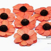 Orange Wooden Zinnia Flowers - One Dozen | AccentsandPetals - Wedding on ArtFire