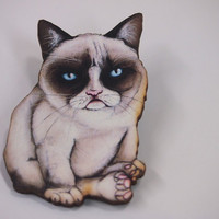 Tard the Grumpy Cat Laser Cut Wood Brooch