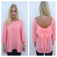 Coral Bow Back 3/4 Sleeve Blouse
