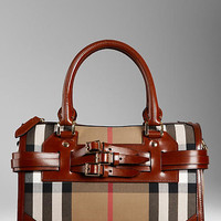 Medium Bridle House Check Belted Bowling Bag