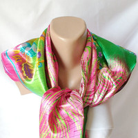 Summer Dream Satin ScarfPink green blue orange purple by Periay