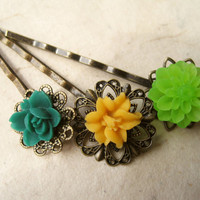 Tropical Flower Hair Pins by PiggleAndPop