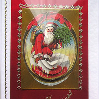 Christmas Card - Happy Christmas Hand-Crafted 3D Decoupage Card - Happy Christmas (1353)