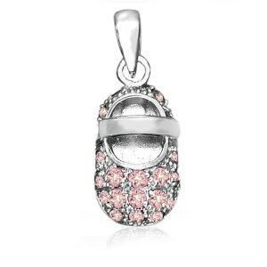 Mothers Day Gifts Bling Jewelry October Birthstone Baby Shoe Charm Pendant Pink Topaz Color CZ